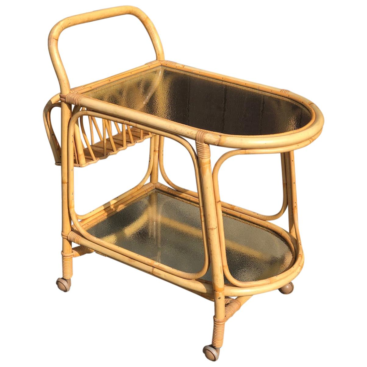 Mid Century Rattan / Cane Drinks Trolley by Angraves, circa 1970