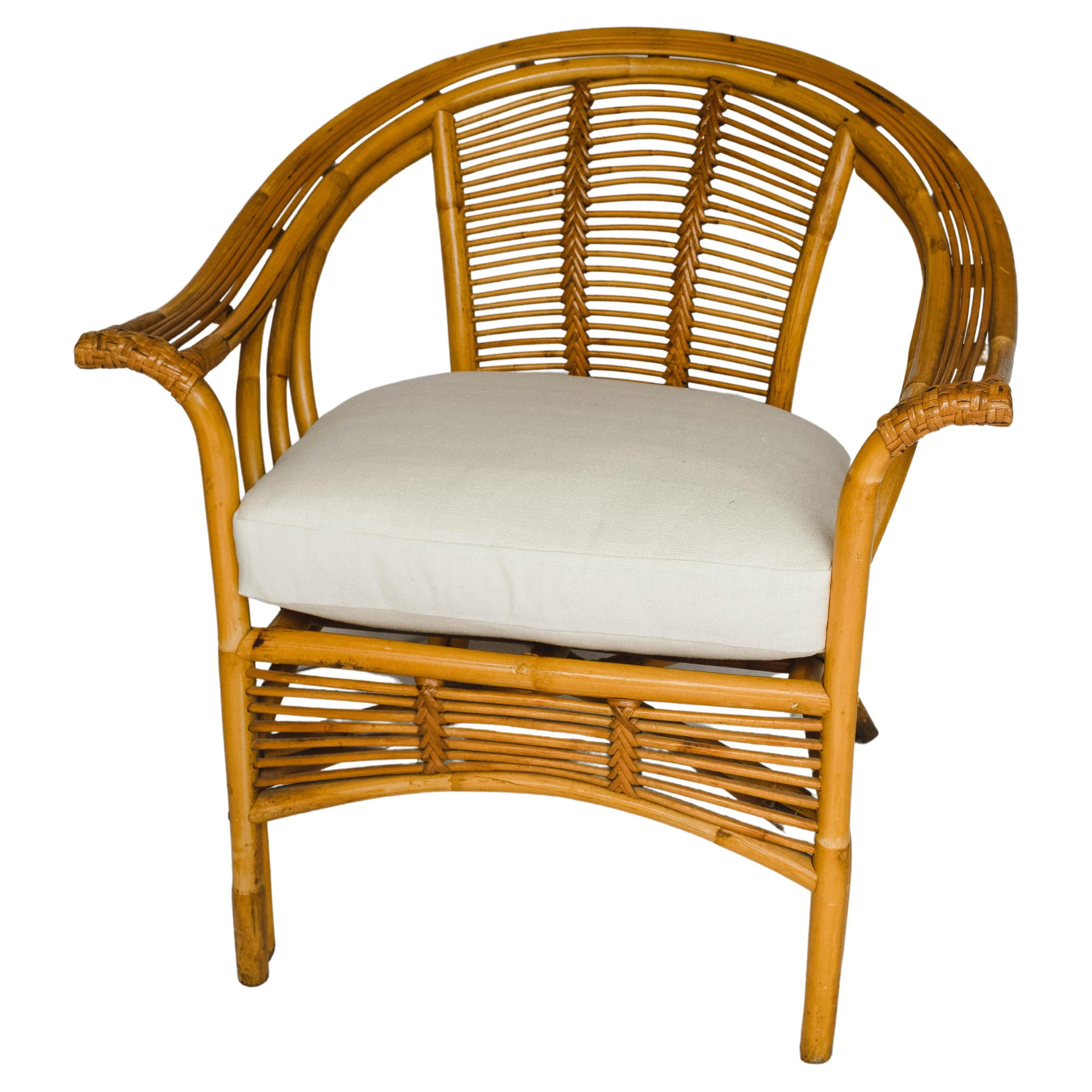 Mid Century Rattan Chair with New Down Cushion