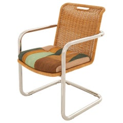 Midcentury Rattan and Chrome Cantilever Chair