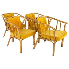 Mid Century Rattan Dining Chairs, Set of 4
