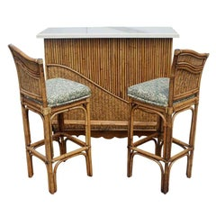 Mid Century Rattan Granite Top Bar With Two Stools