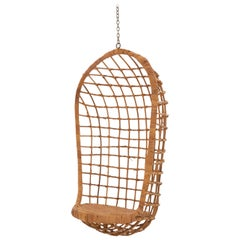 Midcentury Rattan Hanging Chair
