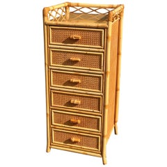 Midcentury Rattan Highboy / Tallboy Chest of Drawers by Angraves, England, 1970s