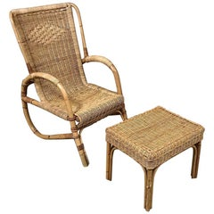 Mid-Century Rattan Lounge Chair and Footstool by Huis Kenninck of Gent