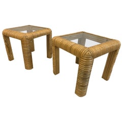 Midcentury Rattan Split Reed End Tables, a Pair