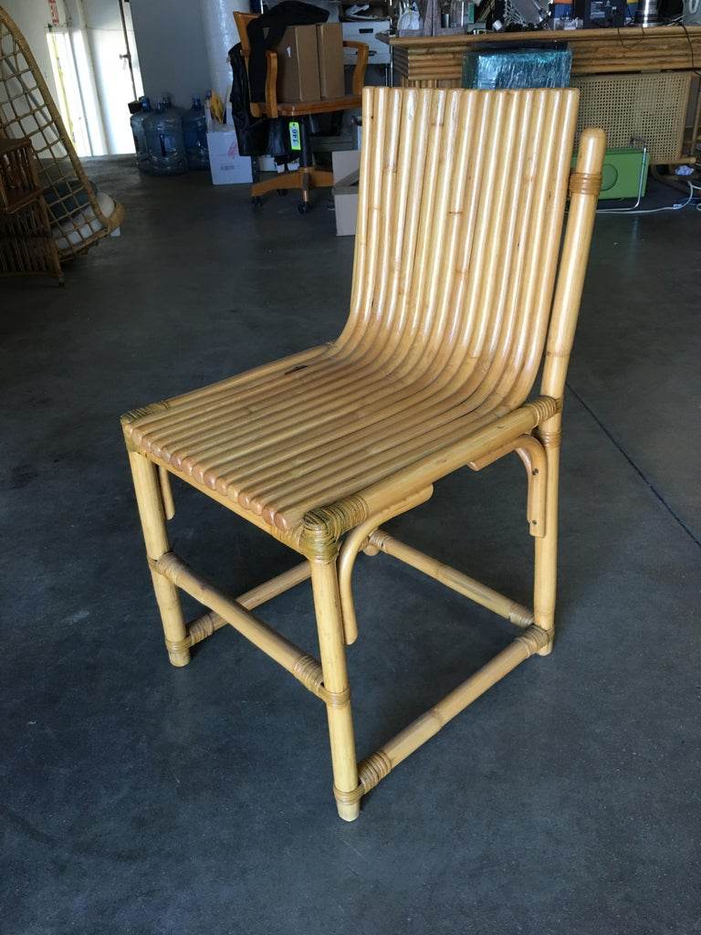 Mid-Century Modern Midcentury Rattan Vertically Stacked Side Chair in the Style of Paul Frankl For Sale