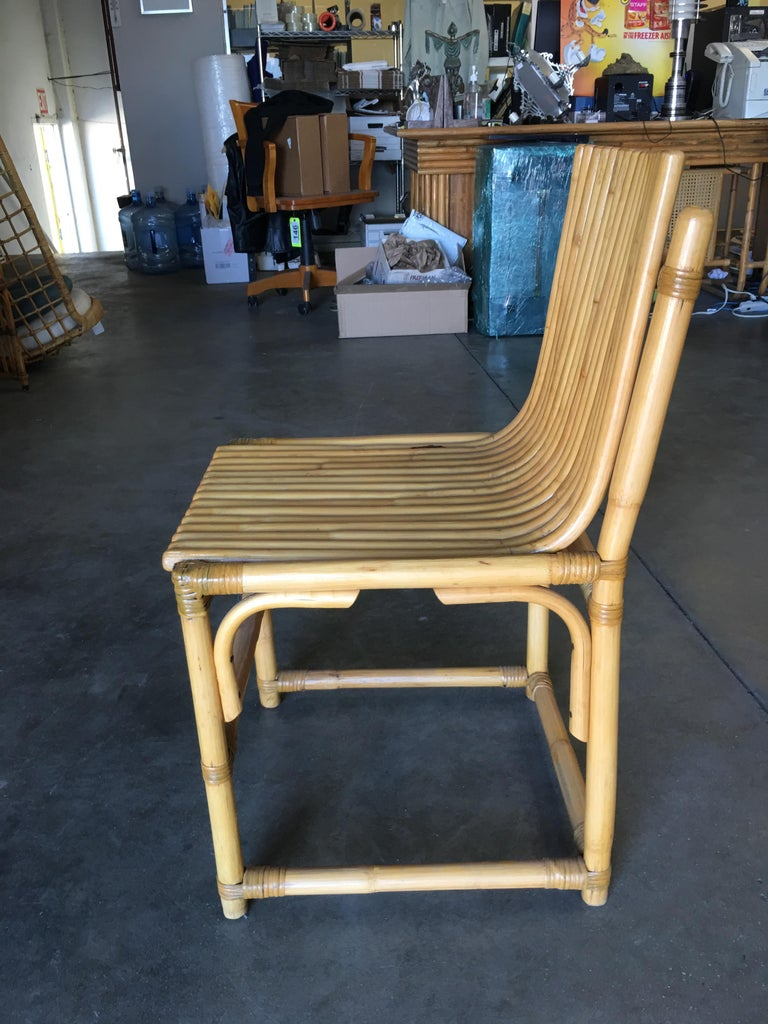 American Midcentury Rattan Vertically Stacked Side Chair in the Style of Paul Frankl For Sale