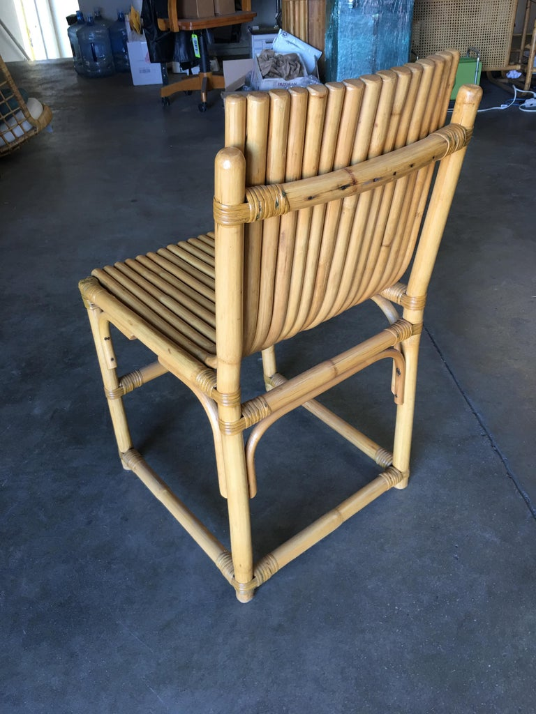 Midcentury Rattan Vertically Stacked Side Chair in the Style of Paul Frankl In Excellent Condition For Sale In Van Nuys, CA