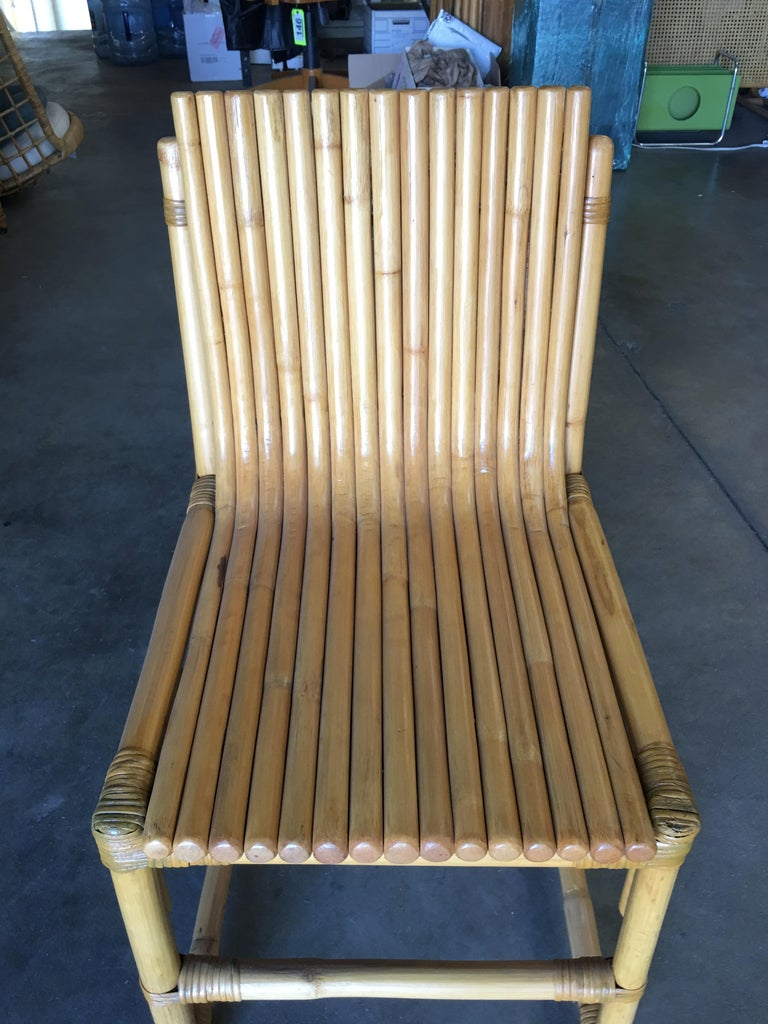 20th Century Midcentury Rattan Vertically Stacked Side Chair in the Style of Paul Frankl For Sale