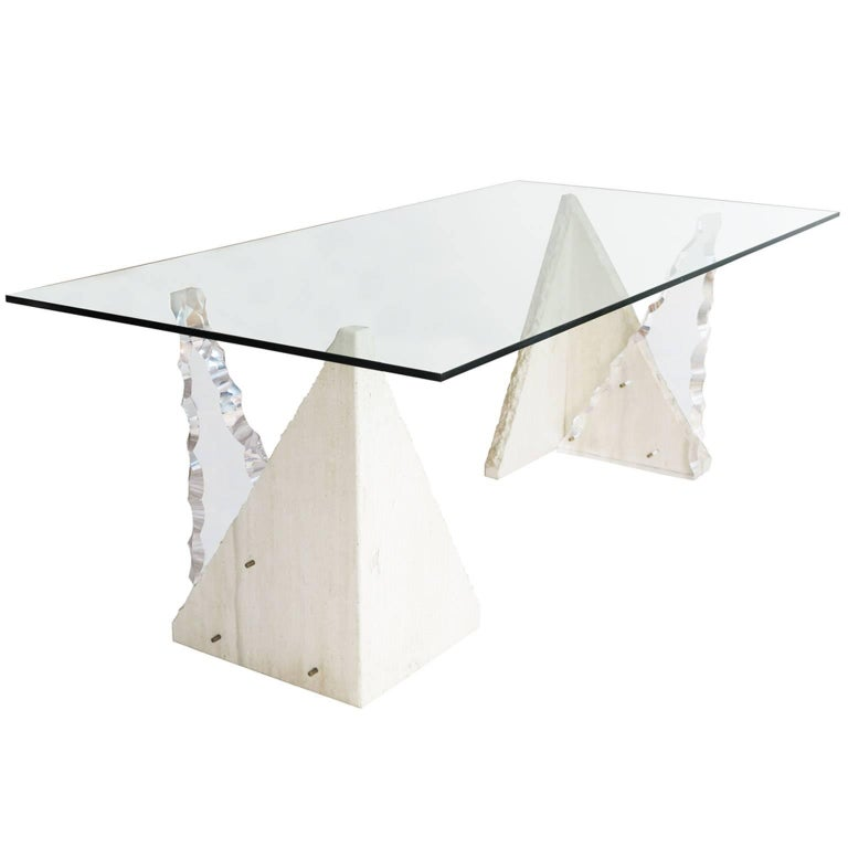 Midcentury Rectangular Glass Dining Table With Limestone And Lucite