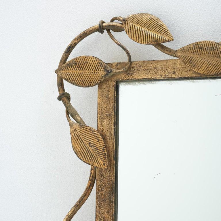 Mid-Century Modern Midcentury Rectangular Mirror in Brass Leaf For Sale