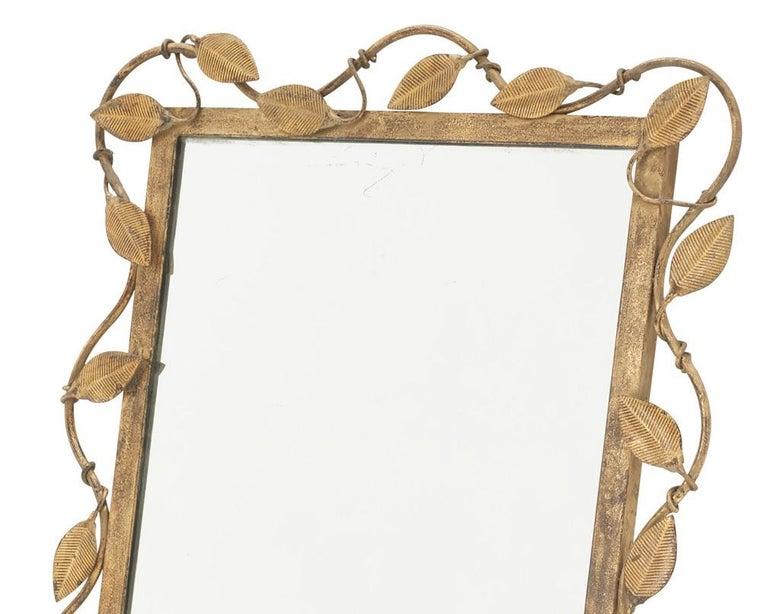 European Midcentury Rectangular Mirror in Brass Leaf For Sale