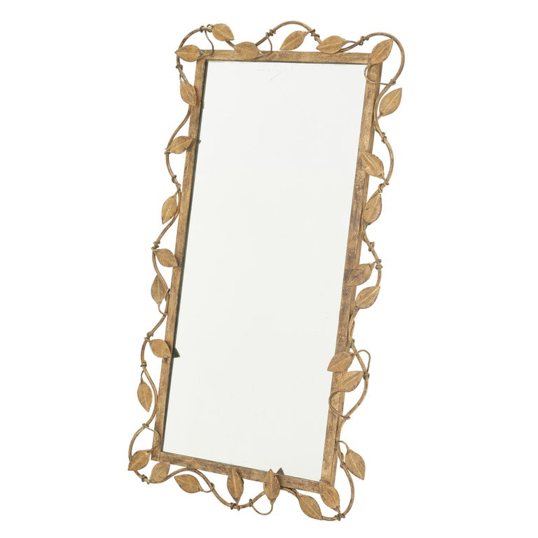 Midcentury Rectangular Mirror in Brass Leaf In Good Condition For Sale In New York, NY