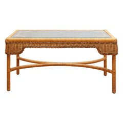 Midcentury Rectangular Rattan Coffee Table, 1970s, France