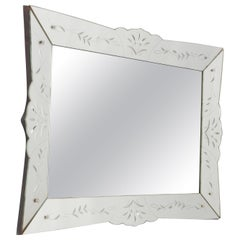 Mid Century Rectangular Venetian Style Etched Mirror, France