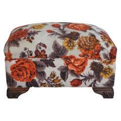 Mid Century Rectangular Wool Upholstered Floral Oak Foot Stool Seat Ottoman