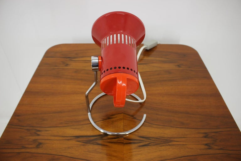 Midcentury Red Adjustable Table Lamp, 1980s For Sale 3