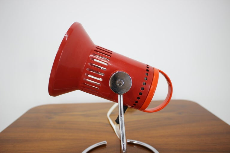 Czech Midcentury Red Adjustable Table Lamp, 1980s For Sale