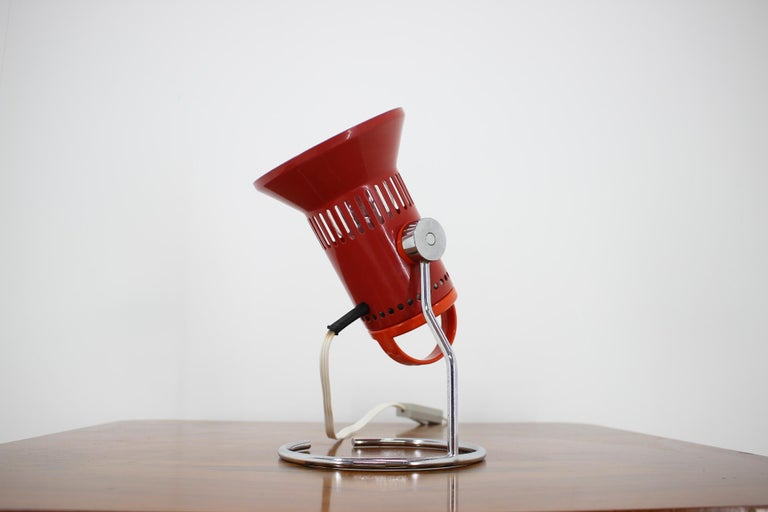 Late 20th Century Midcentury Red Adjustable Table Lamp, 1980s For Sale