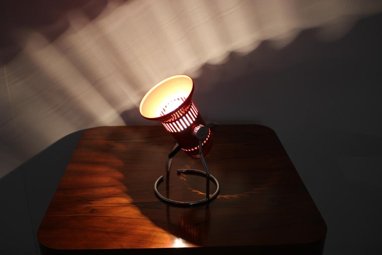 Metal Midcentury Red Adjustable Table Lamp, 1980s For Sale