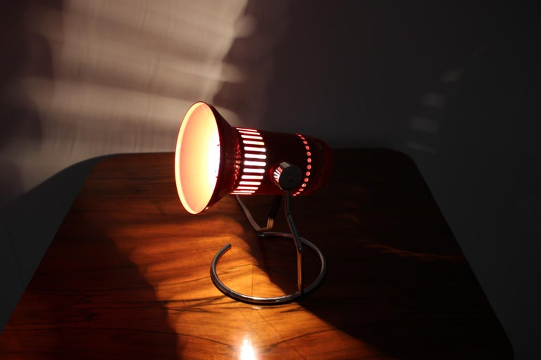Midcentury Red Adjustable Table Lamp, 1980s For Sale 2