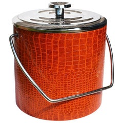 Midcentury Red Chrome and Vinyl Wrapped Faux Leather Ice Bucket