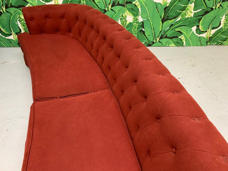 Mid-20th Century Mid Century Dorothy Draper Style Red Curved Tufted Sofa For Sale
