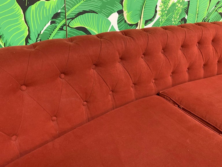 Upholstery Mid Century Dorothy Draper Style Red Curved Tufted Sofa For Sale