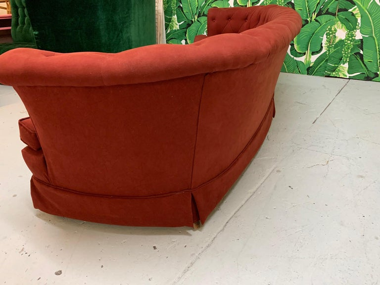 Mid Century Dorothy Draper Style Red Curved Tufted Sofa For Sale 1