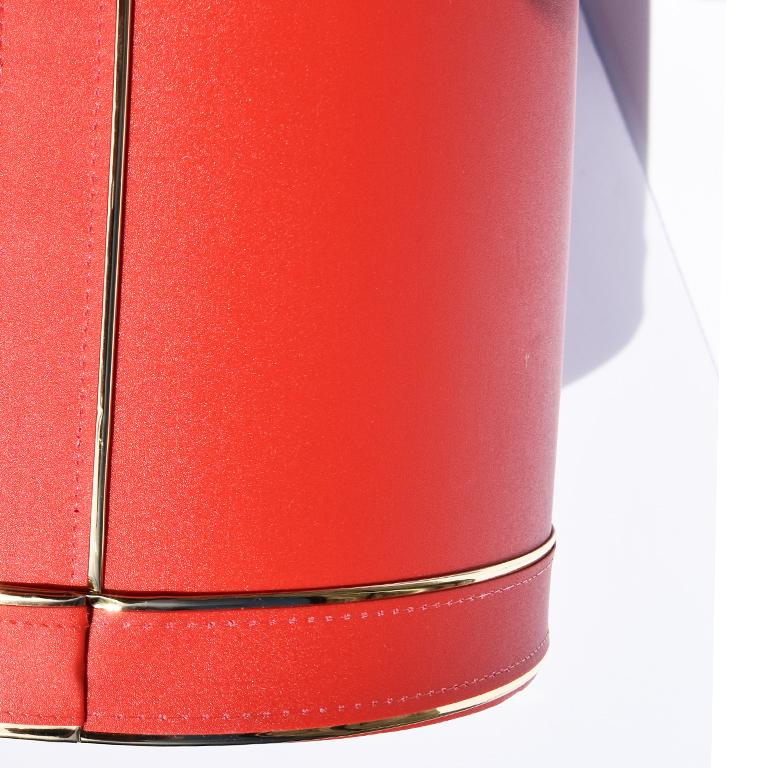 Metal Midcentury Red Ice Bucket with Lucite Acrylic Top with Handle and Brass Details For Sale