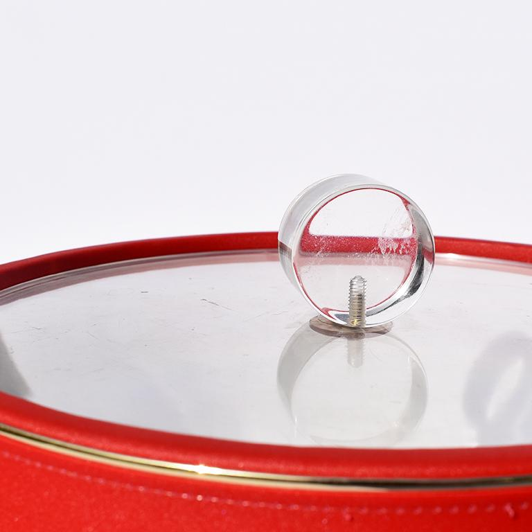 Midcentury Red Ice Bucket with Lucite Acrylic Top with Handle and Brass Details For Sale 1