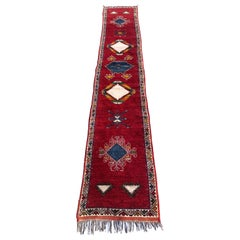Vintage Moroccan Tribal Rug or Runner Vibrant Red and Accentuating Blue & White