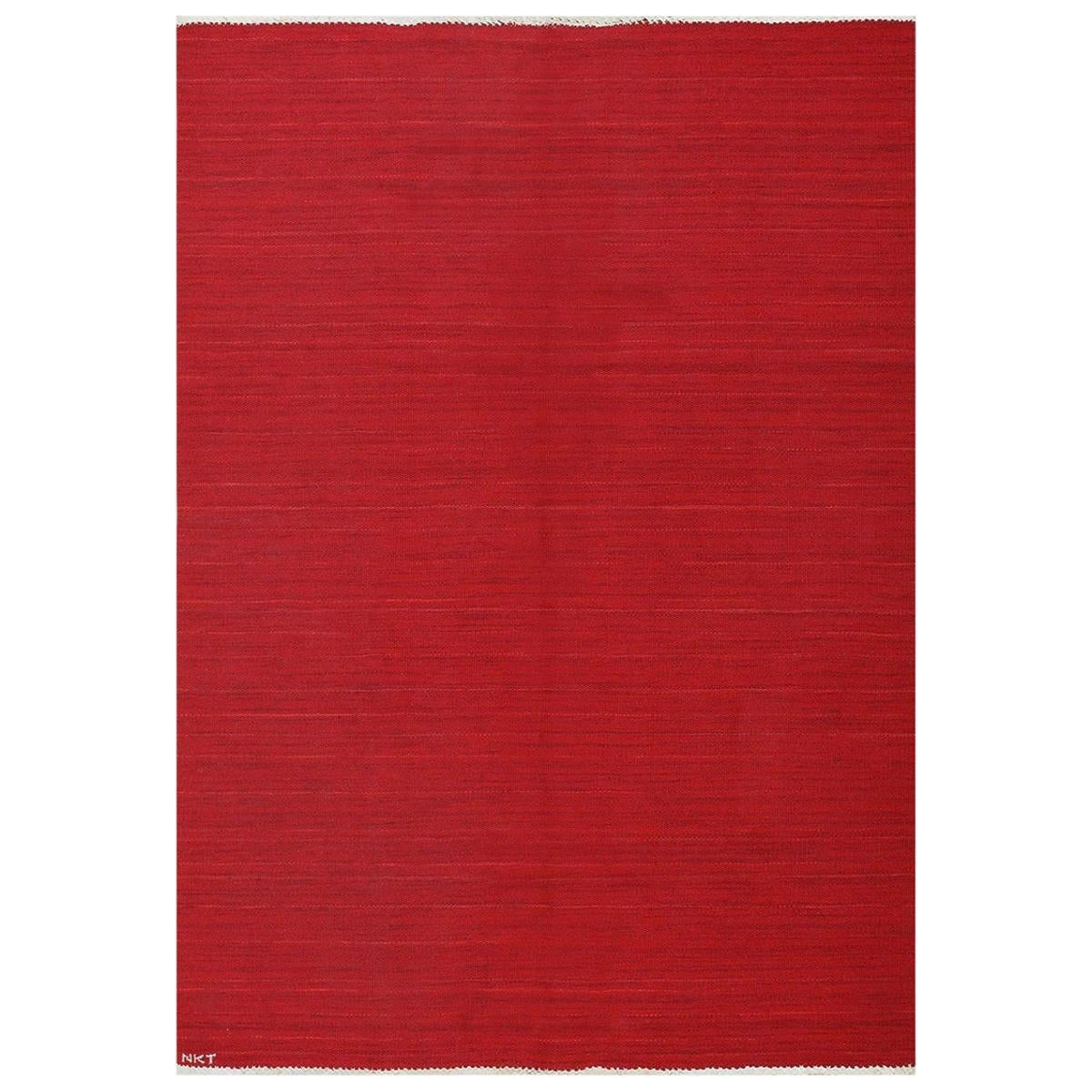 Mid-Century Red Swedish Kilim Signed Nkt. Size: 4 ft 2 in x 7 ft 5 in