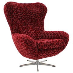 Midcentury Red Swivel Wing Chair, 1980s
