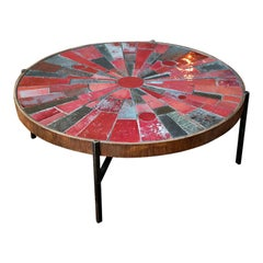 Midcentury Red Tile Cocktail Table by Rogier Vandeweghe, Belgium