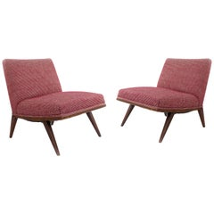 Mid-Century Red Upholstered Slipper Chairs