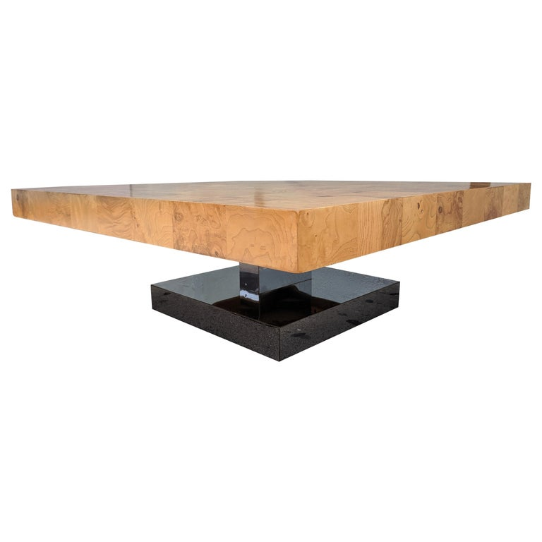 Mid Century Refinished Burl And Chrome Coffee Table By