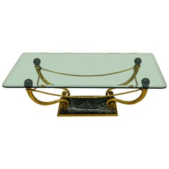 Mid-Century Regency Style Italian Gilt Metal And Marble Glass Top Coffee Table