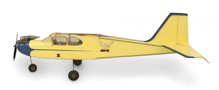 American (1950s) hand made model airplane with working engine and remote control.
