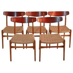 Hans Wegner CH23 Chairs in Oak and Teak