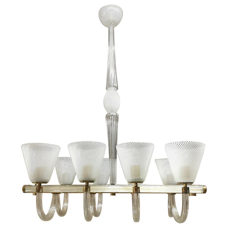 "Midcentury ""Reticello"" Murano Glass and Brass Chandelier by Venini, Italy, 1940s For Sale"