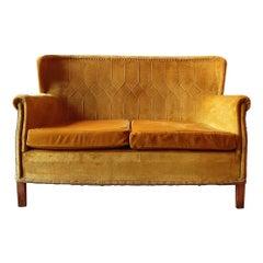 Midcentury Retro Golden Yellow Velvet French Sofa, 1960s