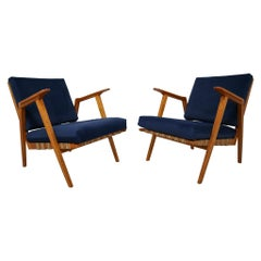 Midcentury Reupholstered Lounge Chairs in Blue Velvet, Czech Republic, 1960s