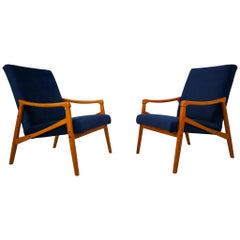 Midcentury Reupholstered Lounge Chairs in Blue Velvet, Czech Republic, 1970s