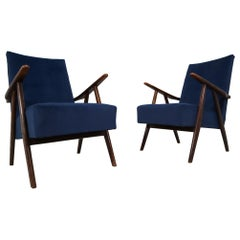Midcentury Reupholstered Lounge Chairs in Blue Velvet, France, 1960s