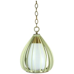 Mid Century Ribbed Metal and Frosted Glass Pendant 2 available