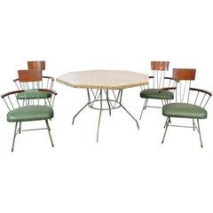 Midcentury Richard McCarthy Americana Iron Wood & Pebble Dining Set 4 Armchairs