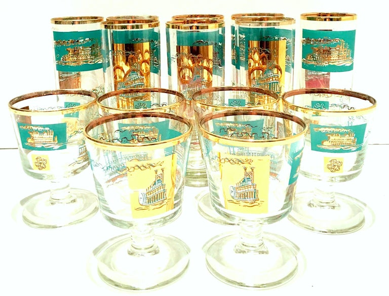 Mid-20th Century 22-karat gold and turquoise River Boat motif drink glasses, set of 14 pieces. Set includes, 8 Tom Collins glasses: 7