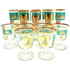 """Midcentury """"River Boat"""" 22-Karat Gold Drink Glasses Set of 14"""