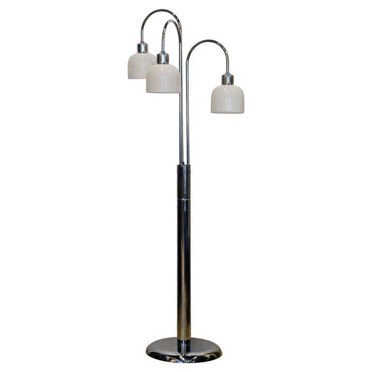 Midcentury Robert Sonneman Style Chrome Waterfall Floor Lamp With Glass Shades